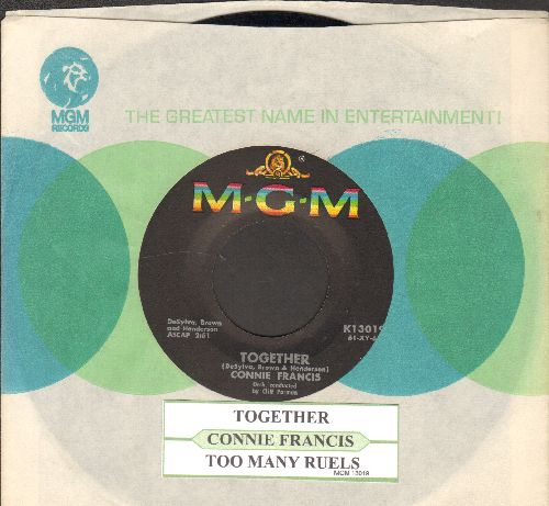 Francis, Connie - Together/Too Many Rules (with juke box label nad MGM company sleeve) - NM9/ - 45 rpm Records