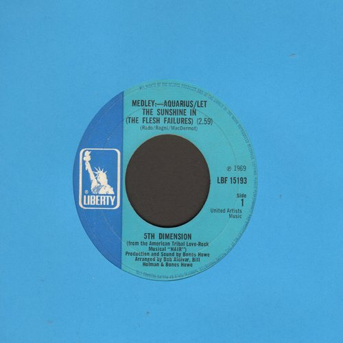 Fifth Dimension - Aquarius/Let The Sunshine In/Don'tcha Hear Me Callin' Ya  - EX8/ - 45 rpm Records