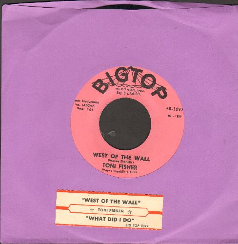 Fisher, Toni - West Of The Wall (Novelty Record made popular immediately after the Berlin Wall was erected to prevent people from fleeing  the Communist  Eastern part of town)/What Did I Do (pink label first issue with juke box label) - NM9/ - 45 rpm Reco