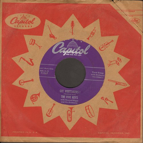 Five Keys - Gee Whittakers!/'Cause You're My Lover (with vintage Capitol company sleeve) - VG7/ - 45 rpm Records