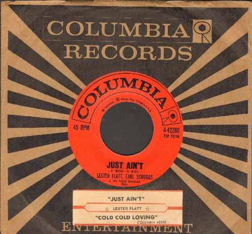 Flatt & Scruggs - Cold, Cold Loving/Just Ain't (with juke box label and company sleeve) - EX8/ - 45 rpm Records