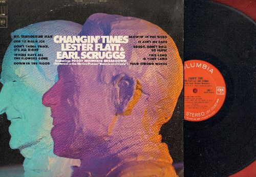 Flatt & Scruggs - Changin' Times: Blowin' In The Wind, It Ain't Me Babe, Mr. Tambourine Man, Ode To Billy Joe, Where Have All The Flowers Gone (vinyl STEREO LP record) - NM9/VG7 - LP Records
