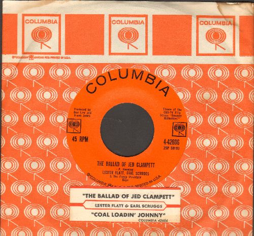 Flatt & Scruggs - The Ballad Of Jed Clampett (Beverly Hillbillies Theme)/Coal Loadin' Johnny (with juke box label and vintage Columbia company sleeve) - EX8/ - 45 rpm Records