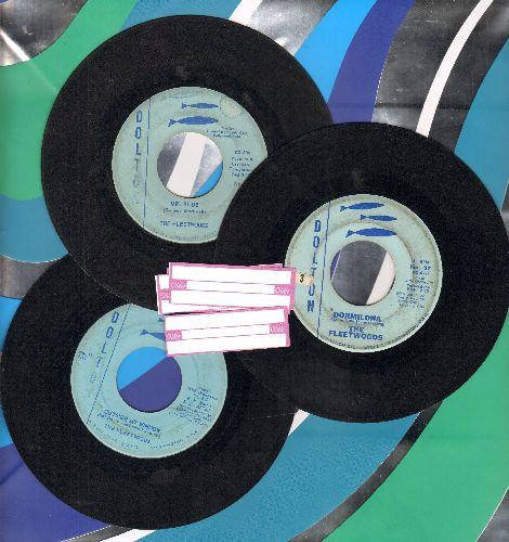 Fleetwoods - 3-Pack of vintage Fleetwoods 45s. Hits include Mr. Blue/Outside My Window/Dormelina (shipped in plain paper sleeves with 4 blank juke box labels) - VG7/ - 45 rpm Records