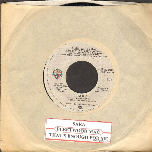 Fleetwood Mac - Sara/That's Enough For Me (with juke box label and Warner Brothers company sleeve) - NM9/ - 45 rpm Records