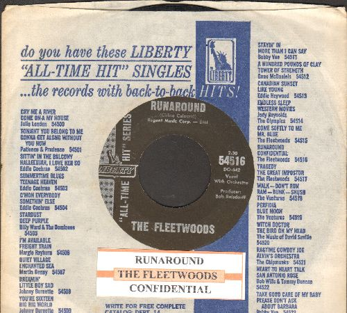 Fleetwoods - Runaround/Confidential (double-hit re-issue with juke box label and company sleeve) - EX8/ - 45 rpm Records