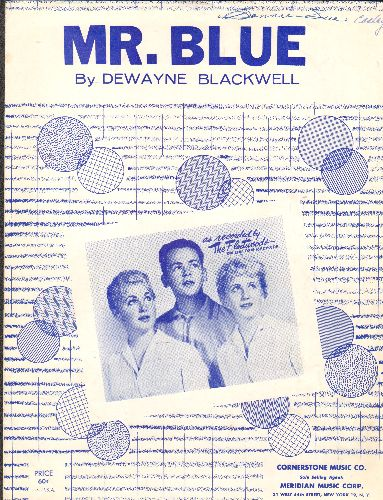 Fleetwoods - Mr. Blue - Vintage SHEET MUSIC for the Vintage Teen Classic, BEAUTIFUL cover portrait of The Fleetwoods. - EX8/ - Sheet Music