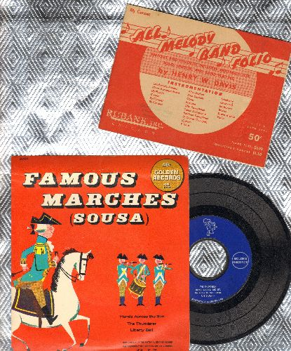 Norman, Arthur Singers - Famous Marches (Sousa)Liberty Bell/High School Cadets/The Thunderer/Hands Across The Sea (vinyl EP record with picture cover and BONUS -All Melody Band Folio- - EX8/EX8 - 45 rpm Records