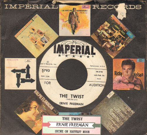 Freeman, Ernie - The Twist/Shine On Harvest Moon (DJ advance pressing with juke box label) - VG7/ - 45 rpm Records