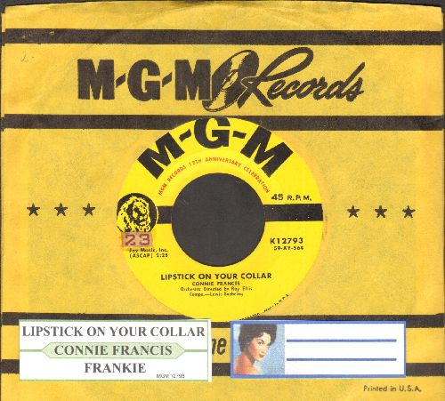 Francis, Connie - Lipstick On Your Collar/Frankie (yellow label first issue with MGM company sleeve) - NM9/ - 45 rpm Records