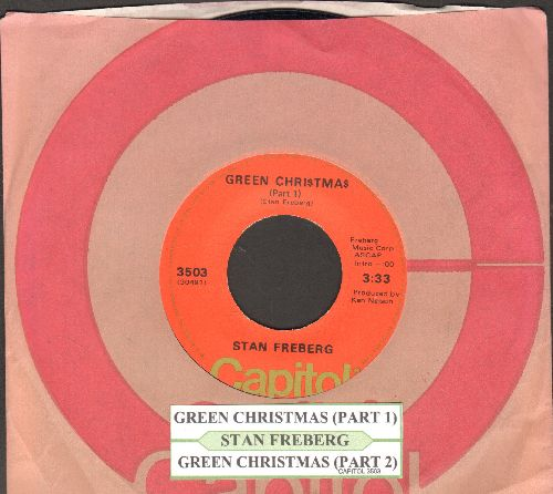 Freberg, Stan - Green Chri$tma$ (Parts 1 + 2) (orange label 1970s issue with juke box label and Capitol company sleeve) - NM9/ - 45 rpm Records