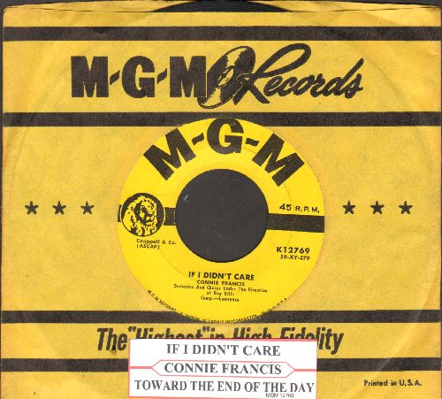 Francis, Connie - If I Didn't Care/Toward The End Of The Day (yellow label first pressing with MGM company sleeve and juke box label) - VG7/ - 45 rpm Records