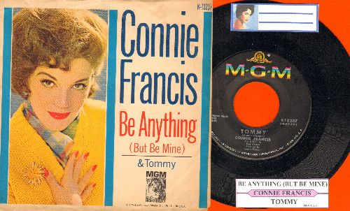 Francis, Connie - Tommy/Be Anything (But Be Mine) (with juke box label and picture sleeve) - NM9/EX8 - 45 rpm Records