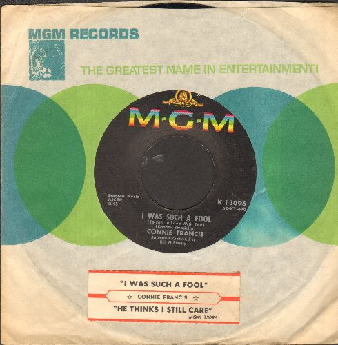 Francis, Connie - I Was Such A Fool/He Thinks I Still Love Him (with juke box label and MGM company sleeve) - EX8/ - 45 rpm Records