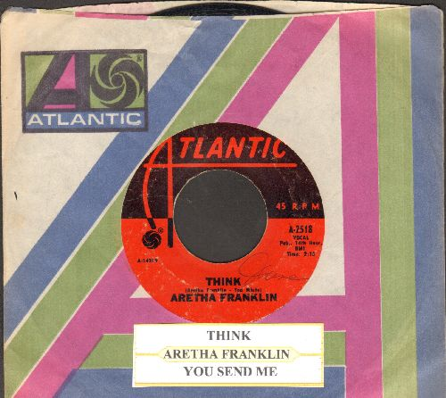 Franklin, Aretha - Think/You Send Me (with juke box label and Atlantic company sleeve) - EX8/ - 45 rpm Records