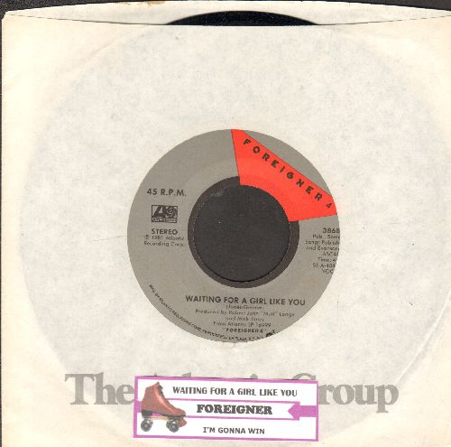Foreigner - Waiting For A Girl Like You/I'm Gonna Win (with juke box label and Atlantic company sleeve) - NM9/ - 45 rpm Records