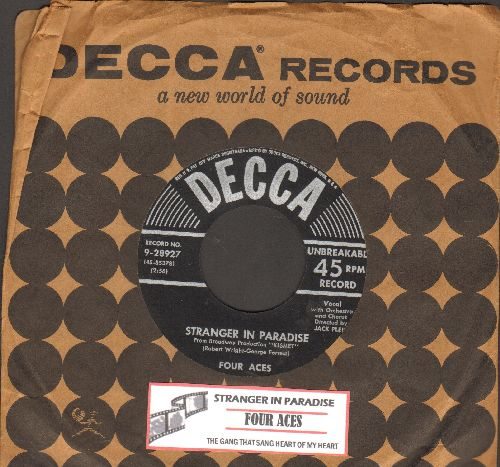 Four Aces - Stranger In Paradise/The Gang That Sang Heart Of My Hearts (silver lines early 1950s first issue with juke box label and Decca company sleeve) - EX8/ - 45 rpm Records