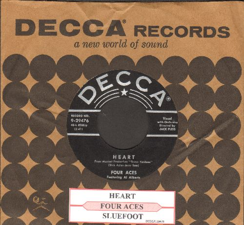 Four Aces - Heart/Sluefoot (with juke box label and Decca company sleeve) - EX8/ - 45 rpm Records