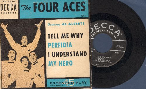 Four Aces - Tell Me Why/Perfidia/I Understand/My Hero (Vinyl EP record with picture cover) - EX8/VG7 - 45 rpm Records