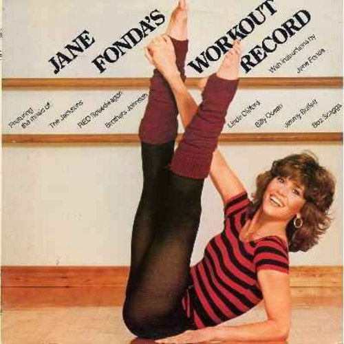 Fonda, Jane - Jane Fonda's Workout Record: Featuring music of The Jacksons, REO Speedwagon, Linda Clifford, Billy Ocean, Jimmy Buffett, others. Includes diagram with exercise instructions.(2 vinyl LP record-set, gate-fold cover - counts as 2 LPs) - NM9/EX