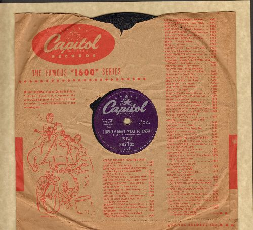 Paul, Les & Mary Ford - I Really Don't Want To Know/South (10 inch 78rpm record with Capitol company sleeve) - EX8/ - 78 rpm