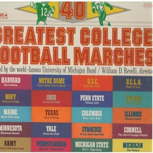 University of Michigan Band, William D. Revelli, director - 40 Greatest College Football Marches - Palyed by the world-famous University of Michigan Band/William D. Revelli, director (2 vinyl STEREO LP record set, gate-fold cover) - NM9/NM9 - LP Records