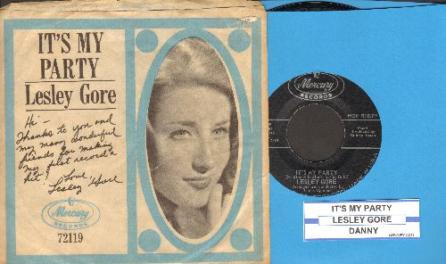 Gore, Lesley - It's My Party/Danny (with picture sleeve and juke box label) - EX8/VG7 - 45 rpm Records