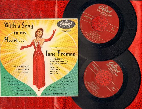 Froman. Jane - With A Song In My Heart - Susan Hayward starring as Jane Froman (2 vinyl EP records in gate-fold picture cover) - NM9/EX8 - 45 rpm Records