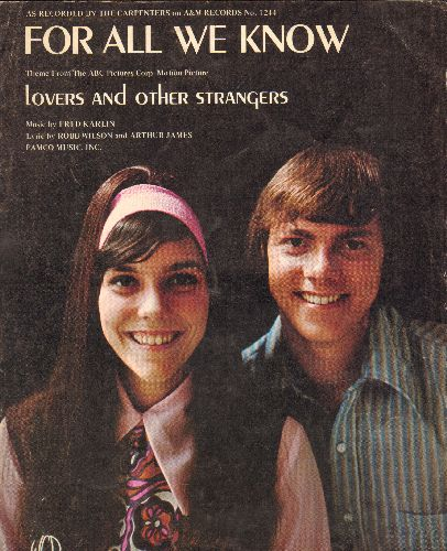 Carpenters - For All We Know - SHEET MUSIC for the Carpenters Hit, NICE cover portrait of the legendary Duo! - NM9/ - Sheet Music