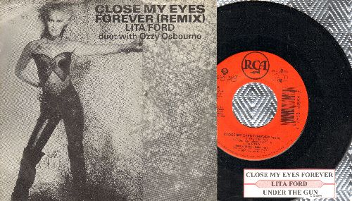 Ford, Lita - Close My Eyes Forever/Under The Gun (with juke box label and picture sleeve) - NM9/EX8 - 45 rpm Records