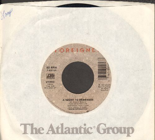 Foreigner - Say You Will/A Night To Remember (with Atlantic company sleeve) - NM9/ - 45 rpm Records