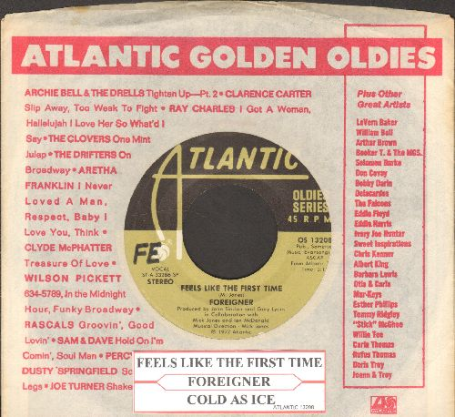 Foreigner - Cold As Ice/Feels Like The First Time (double-hit re-issue with Atlantic company sleeve and juke box label) - EX8/ - 45 rpm Records