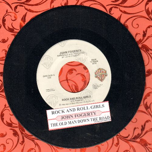 Fogerty, John - Rock And Roll Girls/The Old Man Down The Road (double-hit re-issue with juke box label) - NM9/ - 45 rpm Records