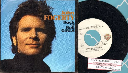 Fogerty, John - Rock And Roll Girls/Centerfield (with juke box label and picture sleeve) - EX8/EX8 - 45 rpm Records