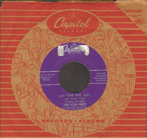 Four Preps - She Was Five And He Was Ten/The Riddle Of Love (with vintage Capitol company sleeve) - EX8/ - 45 rpm Records