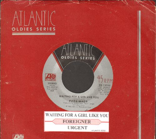 Foreigner - Waiting For A Girl Like You/Urgent (double-hit re-issue with juke box label and Atlantic company sleeve) - NM9/ - 45 rpm Records