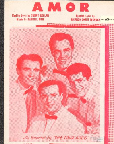 Four Aces - Amor - Vintage SHEET MUSIC for the standard made popular by The Four Aces (BEAUTIFUL cover portrait of the legendary vocal group) - EX8/ - 45 rpm Records