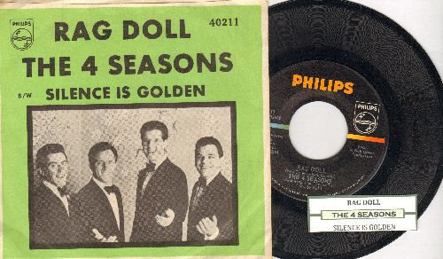 Four Seasons - Rag Doll/Silence Is Golden (with RARE green picture sleeve and juke box label) - NM9/NM9 - 45 rpm Records