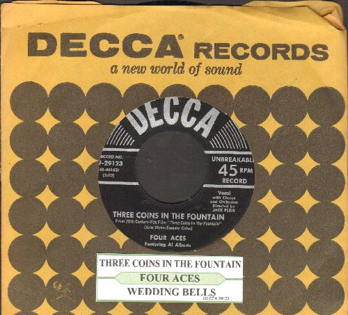 Four Aces - Three Coins In A Fountain/Wedding Bells (black label, silver lines early pressing with juke box label and vintage Decca company sleeve)) - NM9/ - 45 rpm Records