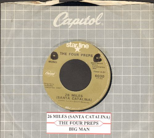 Four Preps - 26 Miles (Santa Catalina)/Big Man (double-hit re-issue, with company sleeve and juke box label) - NM9/ - 45 rpm Records