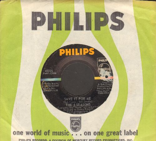 Four Seasons - Save It For Me/Funny Face (with Philips company sleeve)(bb) - EX8/ - 45 rpm Records