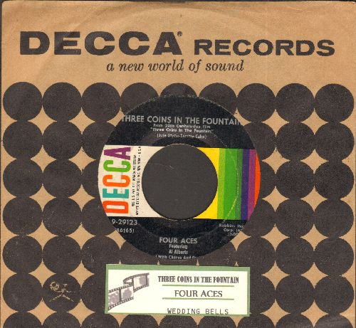 Four Aces - Three Coins In A Fountain/Wedding Bells (multi-color label 1960s pressing with juke box label and vintage Decca company sleeve)) - NM9/ - 45 rpm Records
