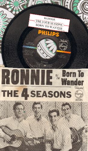 Four Seasons - Ronnie/Born To Wander (with picture sleeve and juke box label) - NM9/EX8 - 45 rpm Records
