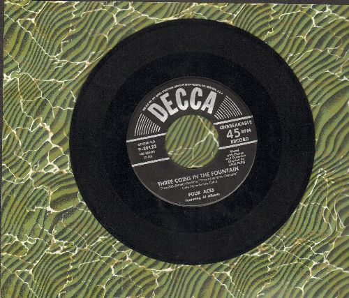 Four Aces - Three Coins In A Fountain/Wedding Bells (black label, silver lines early pressing) - EX8/ - 45 rpm Records