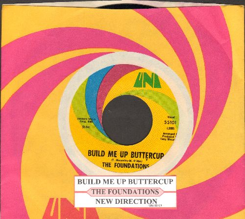Foundations - Build Me Up Buttercup/New Direction (with juke box label and Uni company sleeve) - NM9/ - 45 rpm Records