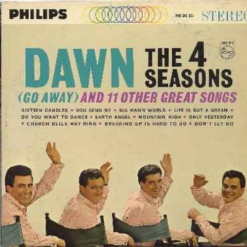 Four Seasons - Dawn (Go Away) And 11 Other Great Songs: 16 Candles, You Send Me, Do You Want To Dance?, Earth Angel, Church Bells May Ring, Breaking Up Is Hard To Do (Vinyl STEREO LP record) - EX8/VG7 - LP Records