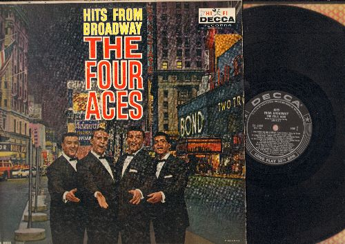 Four Aces - Hits From Broadway: Standing On The Corner, Get Me To The Church On Time, Till There Was You, Tonight, Small World, Too Close For Comfort (Vinyl MONO LP record, black label early pressing) - VG6/VG7 - LP Records