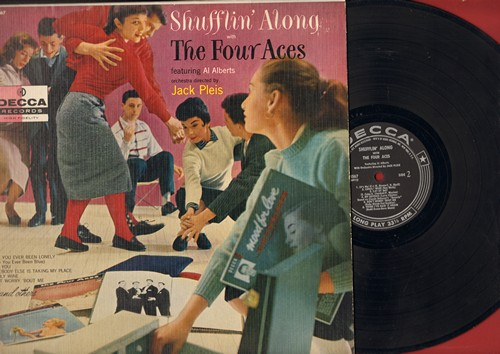 Four Aces - Shufflin' Along with The Four Aces: Have You Ever Been Lonely, Girl Of My Dreams, Heartaches, (It's No) Sin (Vinyl MONO LP record, RARE silver lines/stars label first issue) - VG7/EX8 - LP Records