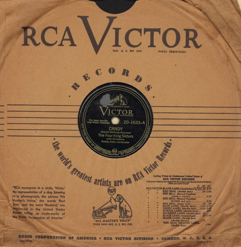 Four King Sisters - Candy/Saturday Night (10 inch 78rpm record with RCA Victor company sleeve) - VG6/ - 78 rpm