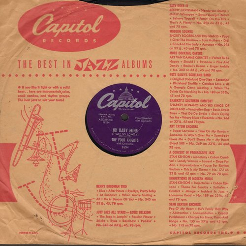 Four Knights - Oh Baby Mine/I Couldn't Stay Away From You (10 inch 78 rpm record with Capitol company sleeve) - EX8/ - 78 rpm
